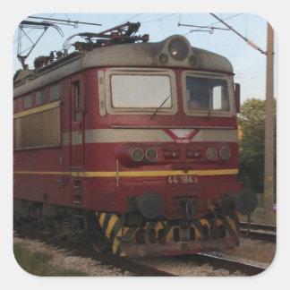 Del este - tren de mercancías europeo pegatina cuadrada