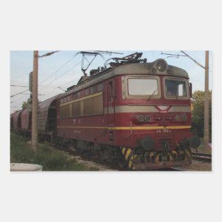 Del este - tren de mercancías europeo pegatina rectangular