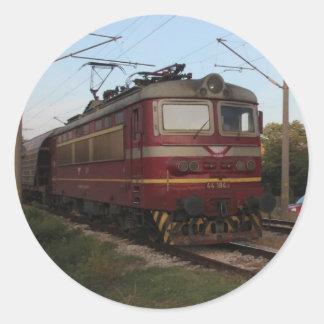 Del este - tren de mercancías europeo pegatina redonda