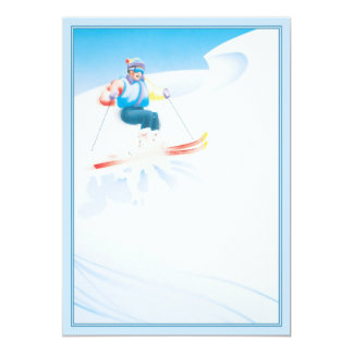 """© del fiesta del esquí invitación 5"""" x 7"""""""