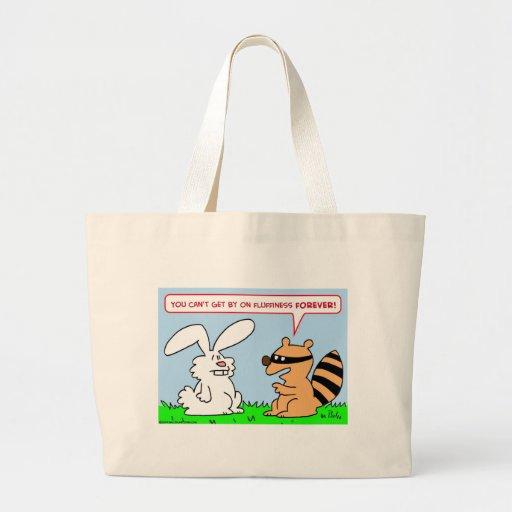 del fluffiness mapache del conejo para siempre bolsas lienzo