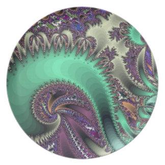 Del fractal diseño swirly platos