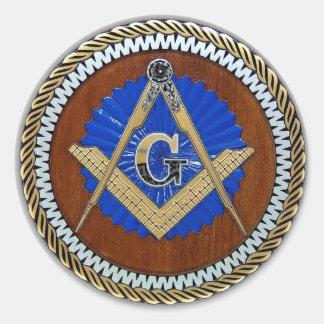 del freemason cuadrado y compás de la conspiración pegatina redonda