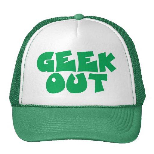 Del friki diseño verde del texto hacia fuera gorros bordados