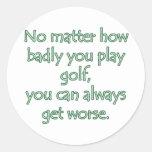Del golf diseño del golf gravemente pegatina redonda