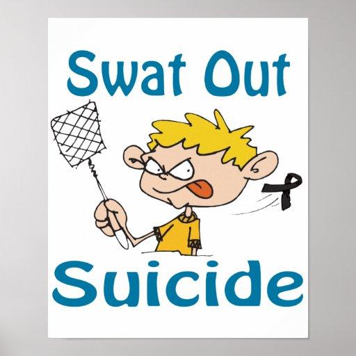 Del golpe violento poster del suicidio hacia fuera