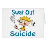Del golpe violento tarjeta del suicidio hacia fuer