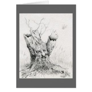 Del grafito del alcohol del árbol viejo hombre felicitación