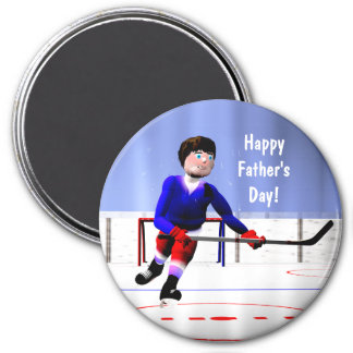 Del hockey el día de padre en horas extras imán redondo 7 cm