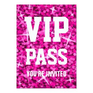 """Del """"invitación rosada PASO del VIP"""" del Glitz Invitación 5"""" X 7"""""""