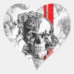 Del jardín de la arboleda cráneo surfabilly pegatina en forma de corazón