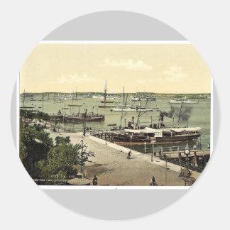 Del jardín del mar, el puerto, Kiel, Schleswig-H Pegatina Redonda