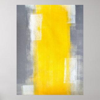 """Del """"juego arte abstracto gris y amarillo para póster"""