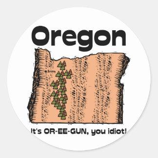 ¡~ del lema de Oregon O del estado es OR-EE-GUN, Pegatina Redonda