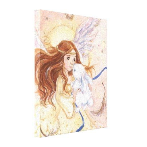 """Del """"lona envuelta de hadas ángel y del conejito"""" impresión en lona estirada"""