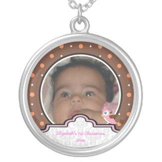 Del lunar del pájaro de la etiqueta de la niña 1r collar personalizado