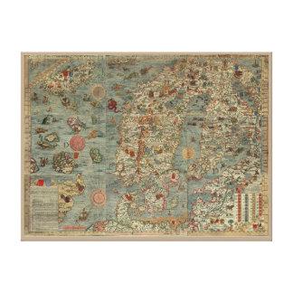 """Del """"mapa puerto deportivo de Carta"""" del Viejo Lienzo Envuelto Para Galerias"""