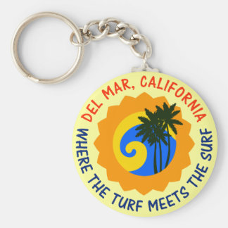 Del Mar, California Where The Turf Meets The Surf Basic Round Button Keychain
