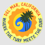 Del Mar, California Where The Turf Meets The Surf Round Sticker