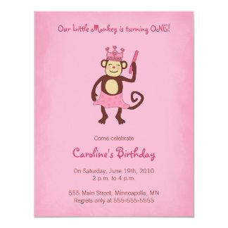 Del mono 1ra cumpleaños invitación de la princesa invitación 10,8 x 13,9 cm