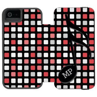 Del monograma del negro mosaico gris rojo del funda cartera para iPhone 5 watson