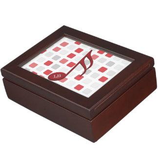 Del monograma del rojo mosaico gris rojo del caja de recuerdos