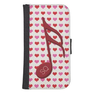 Del monograma del rojo música de los corazones del funda tipo cartera para galaxy s4