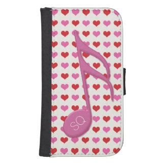 Del monograma del rosa música de los corazones del cartera para teléfono