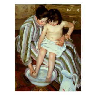 Del niño de Mary Cassatt el baño (circa 1892) Postal