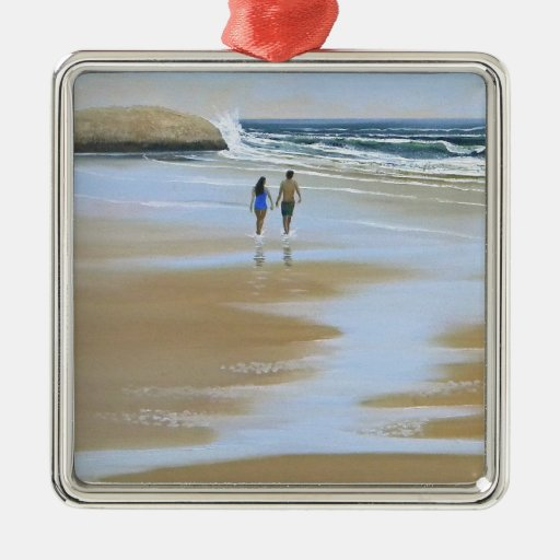 ~ del ornamento que camina la playa adorno cuadrado plateado