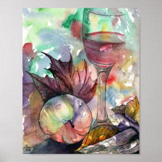 Del otoño todavía de la copa de vino vida póster