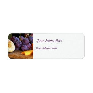 Del pan de las uvas todavía del queso cheddar vida etiqueta de remite
