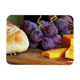 Del pan de las uvas todavía del queso cheddar vida imán flexible