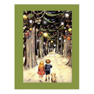 Del paseo un tiempo pasado del navidad abajo tarjetas postales