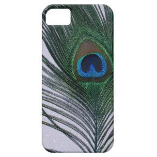 Del pavo real todavía de la pluma vida blanca funda para iPhone SE/5/5s