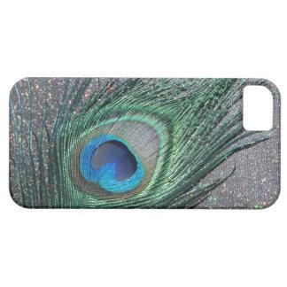 Del pavo real todavía de la pluma vida negra brill iPhone 5 funda