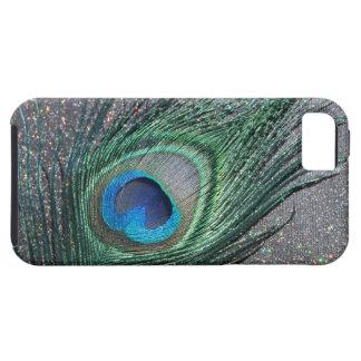 Del pavo real todavía de la pluma vida negra brill iPhone 5 Case-Mate cárcasas