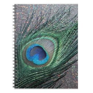 Del pavo real todavía de la pluma vida negra brill cuadernos