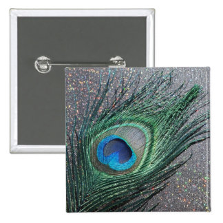 Del pavo real todavía de la pluma vida negra brill pin cuadrado