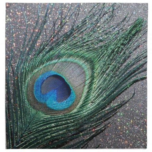 Del pavo real todavía de la pluma vida negra brill servilleta imprimida