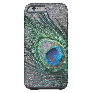 Del pavo real todavía de la pluma vida negra funda de iPhone 6 tough