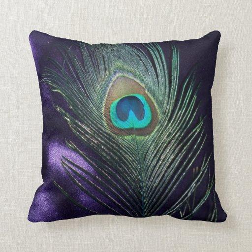 Del pavo real todavía de la pluma vida púrpura imp cojines