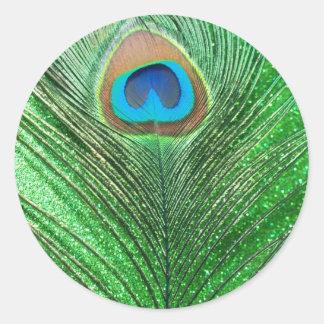Del pavo real todavía de la pluma vida reluciente etiquetas redondas
