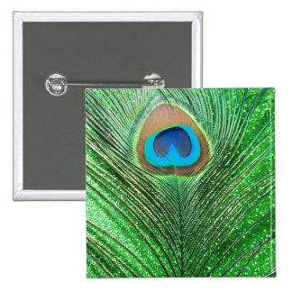Del pavo real todavía de la pluma vida reluciente  pin cuadrado