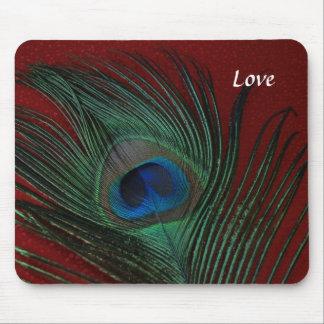 Del pavo real todavía de la pluma vida roja metáli alfombrilla de ratón