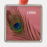 Del pavo real todavía de la pluma vida rosada oscu adorno