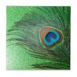 Del pavo real todavía de la pluma vida verde reluc teja cerámica