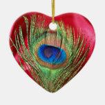 Del pavo real todavía del rojo vida sedosa adornos de navidad