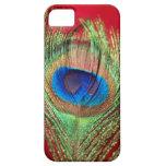 Del pavo real todavía del rojo vida sedosa iPhone 5 Case-Mate cárcasa