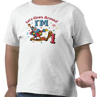 Del payaso 1r cumpleaños alrededor camiseta